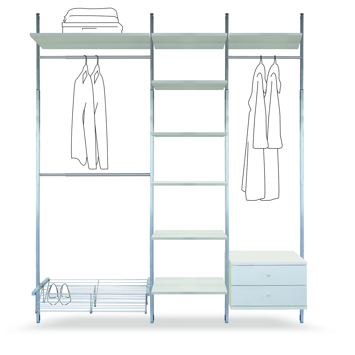 Interior storage system for sliding wardrobe