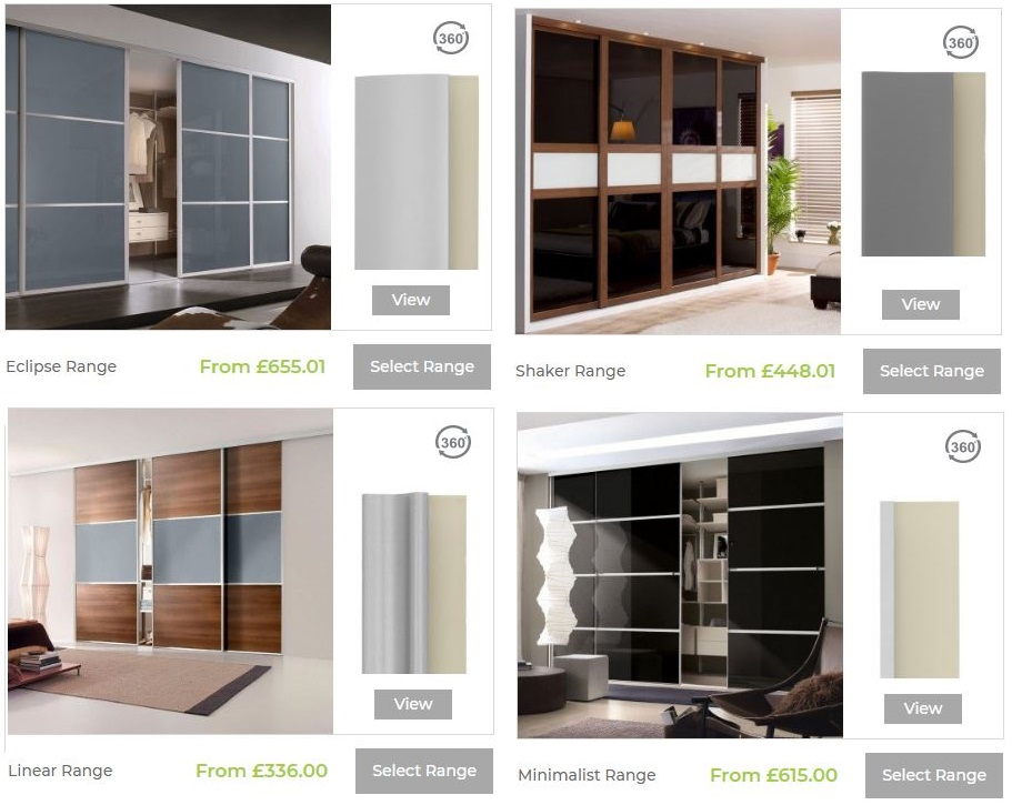 Select a wardrobe door range online