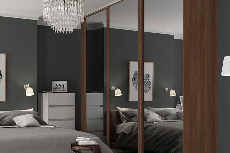 dark wood sliding wardrobe doors