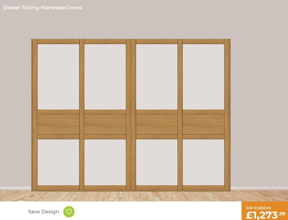 £1273 4 door shaker sliding wardrobe