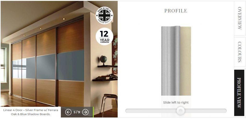 Door frame profile view in designer
