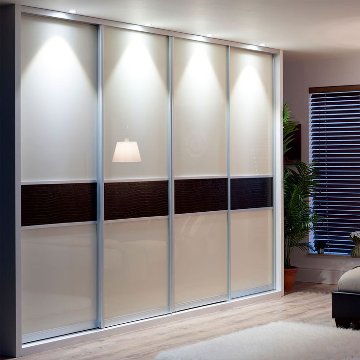 Monaco Fineline Sliding Wardrobe Doors - Ivory & Black Panels.