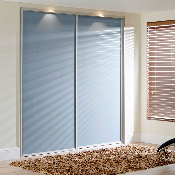 Icon Sliding Wardrobe Doors – Single Colour Panels in Blue Shadow.