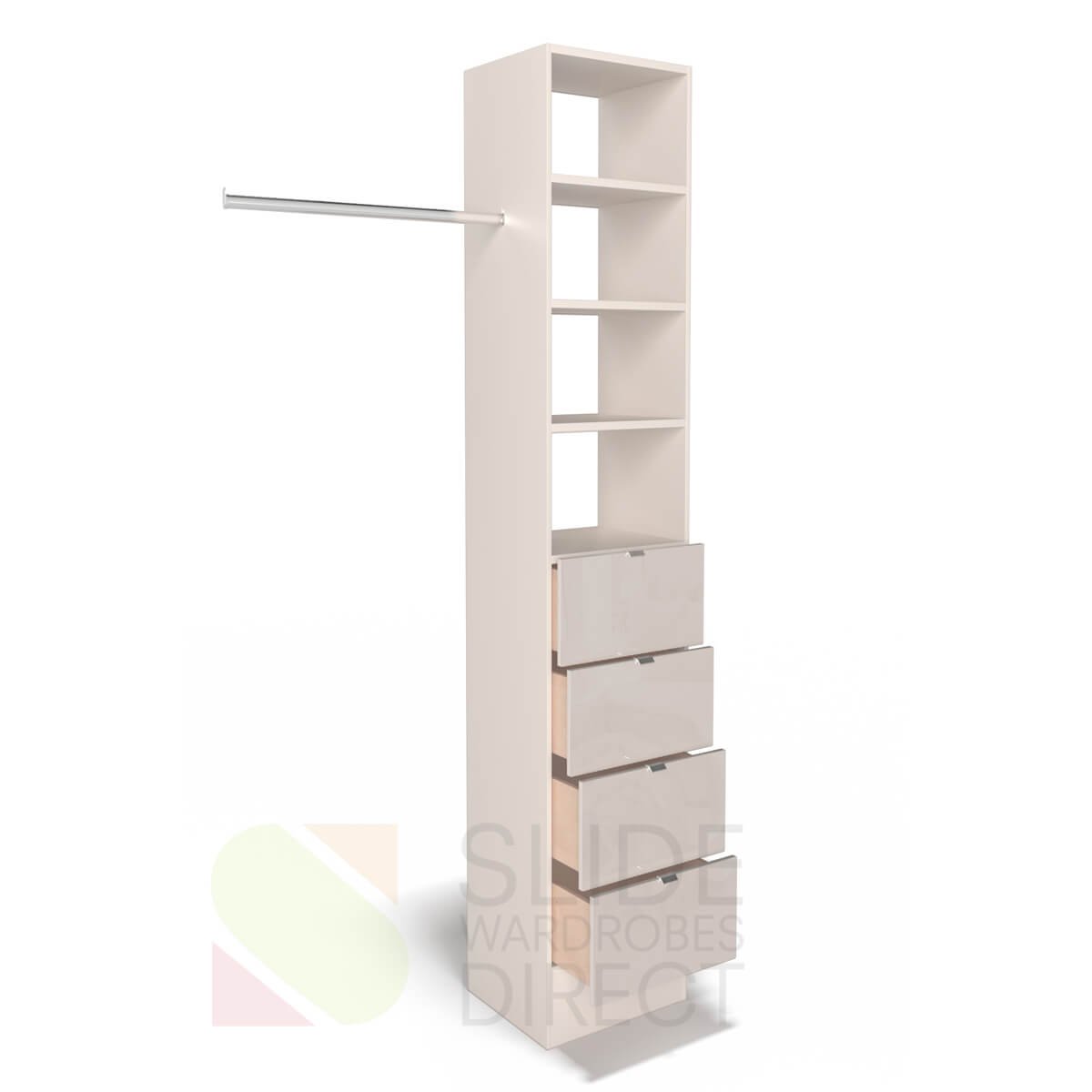 Cashmere tower with Cashmere glass drawer fronts