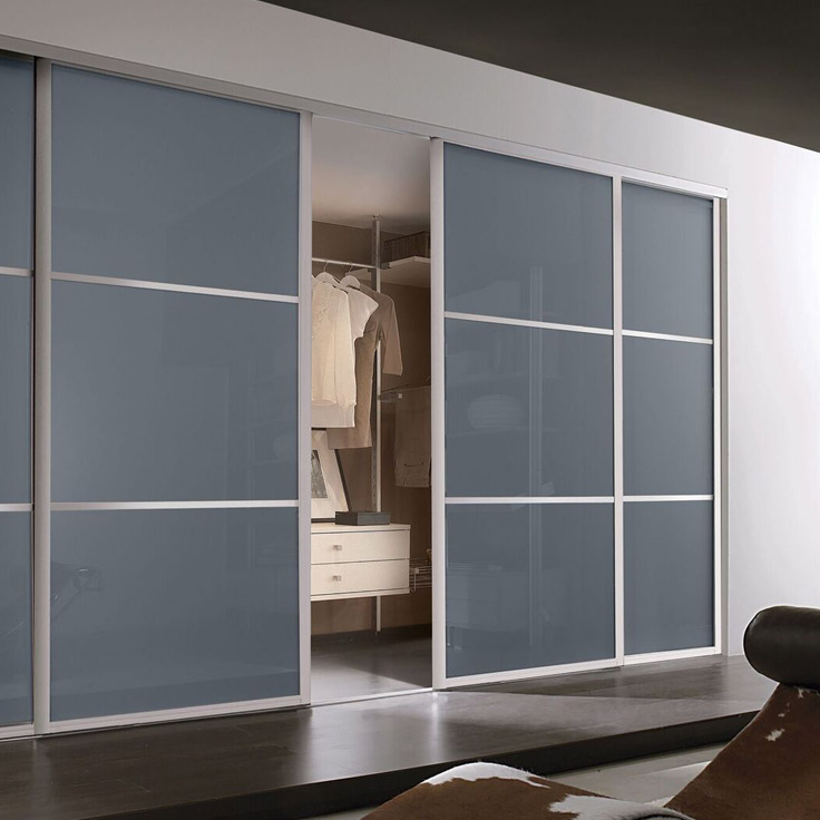 Eclipse Bedroom Wardrobes - Blue Shadow Glass Sliding Doors.