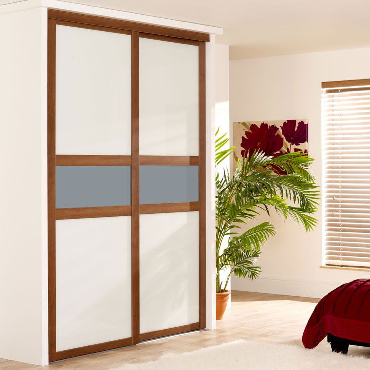 Fineline Shaker Wardrobe - Walnut Frame w/ Pure White & Blue Shadow Mid-Panel.