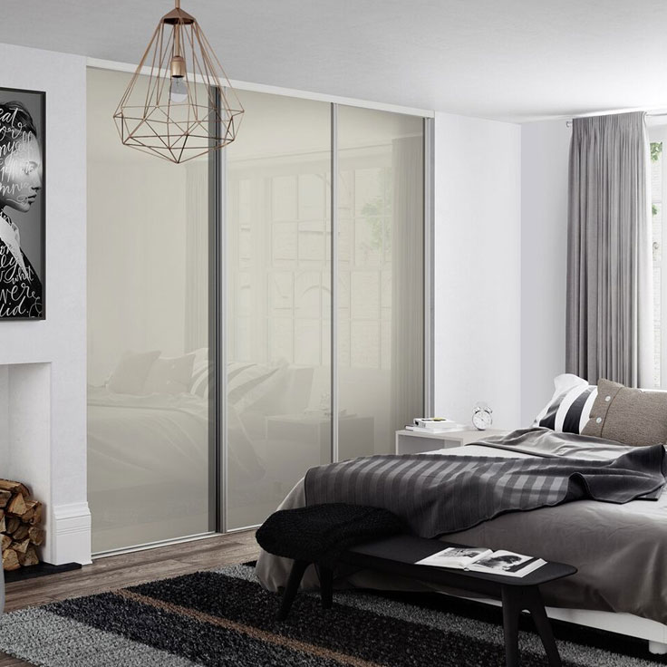 Linear Sliding Wardrobe Doors - Silver Frame w/ Ivory Glass Panels.