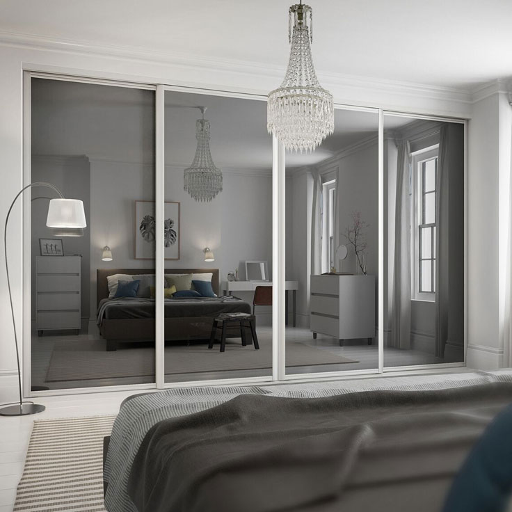Eclipse Sliding Wardrobe Doors - Grey Mirror Panels.