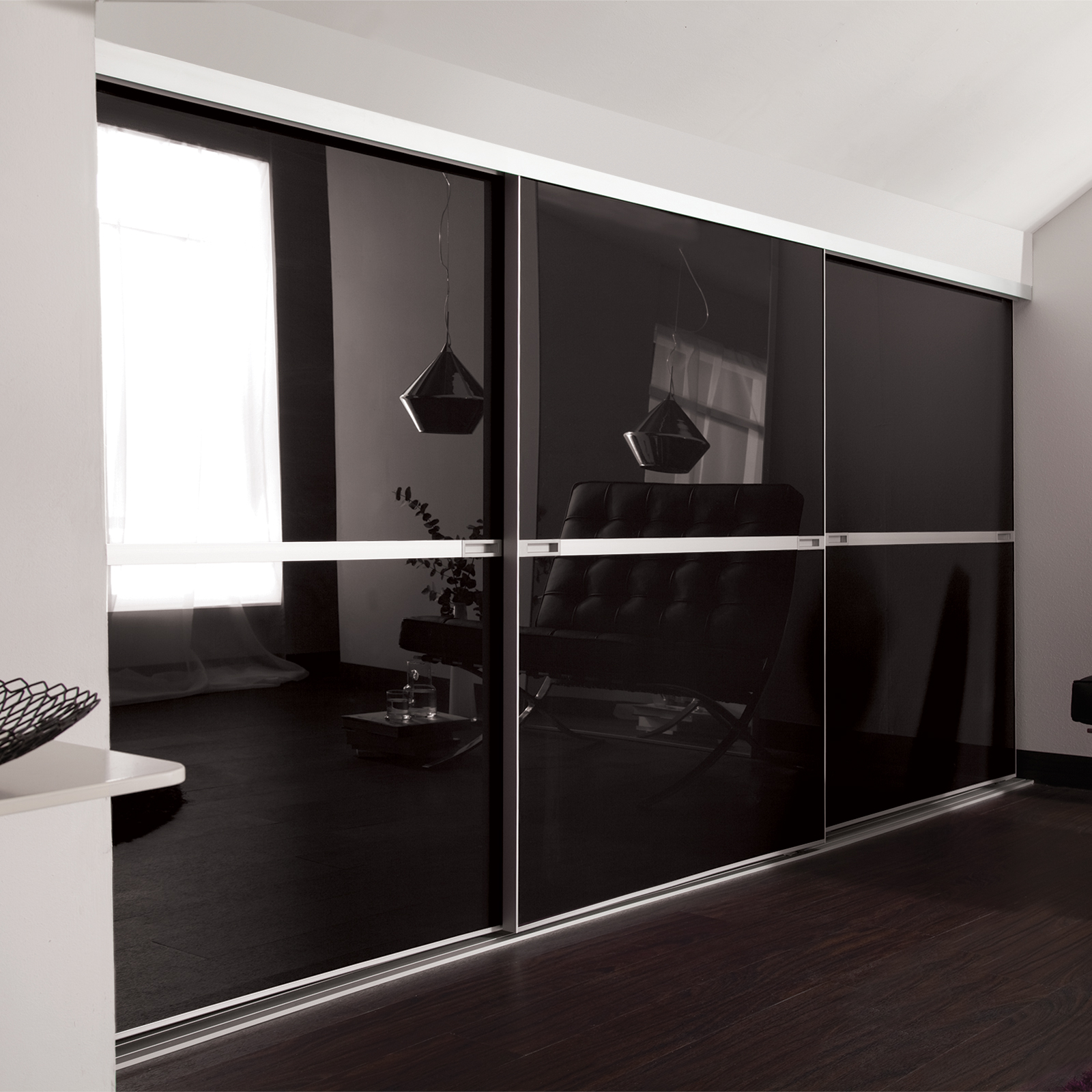 Loft doors  finished installation using angled ceiling blocks