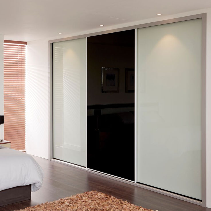 Metro Sliding Wardrobe Doors- 2 Soft white & 1 Black doors
