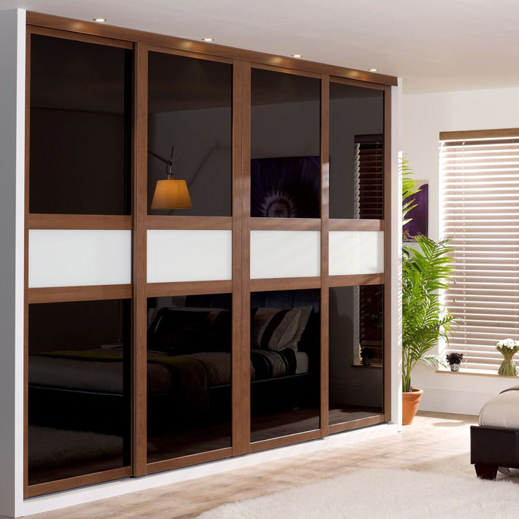 Fineline Shaker Style Wardrobe - Walnut frame w/ Black & Soft White Glass.