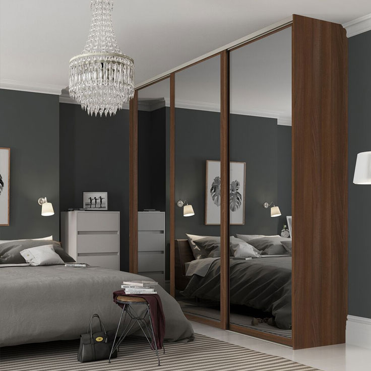 Shaker Style Fitted Wardrobe - Walnut Frame w/ Smoked Mirror Doors.
