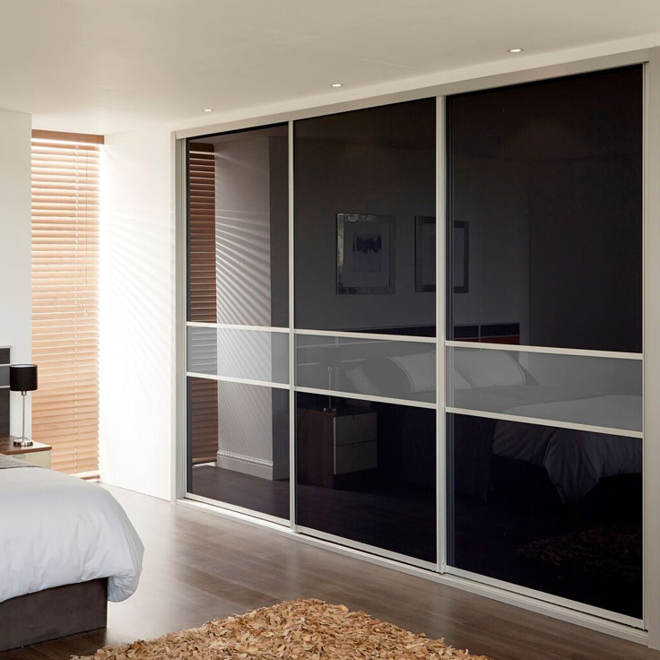 Icon Coloured Glass Sliding Wardrobe Doors - Black & Storm Grey Glass Panels.