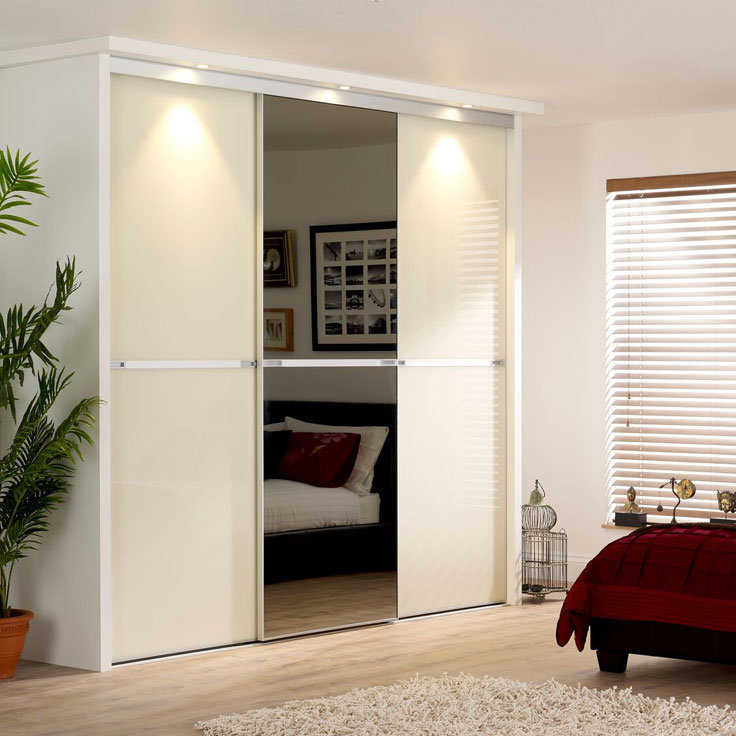 Minimalist Sliding Wardrobe Doors-Ivory glass & smoked mirror