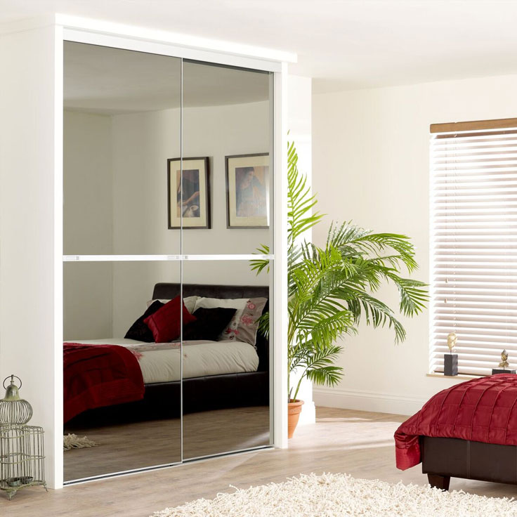 Minimalist Sliding Wardrobe Doors-Smoked mirror