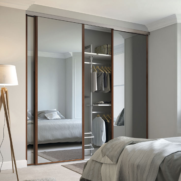 Modern Linear Wardrobe – Walnut Frame w/ Plain Mirror Sliding Doors.
