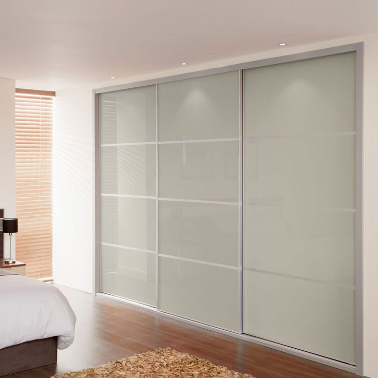 Metro Sliding Wardrobe Doors- Cashmere glass & 3 Oriental bars