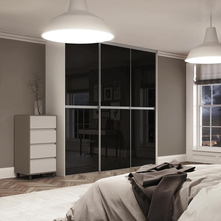 Minimalist Sliding Wardrobe Doors-Silver frame-Black glass