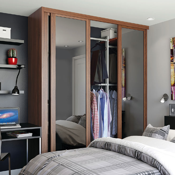 Shaker Sliding Wardrobe Doors - Walnut Frame w/ Smoked Mirror.
