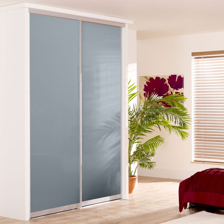 Monaco Sliding Wardrobe- silver frame & Blue shadow
