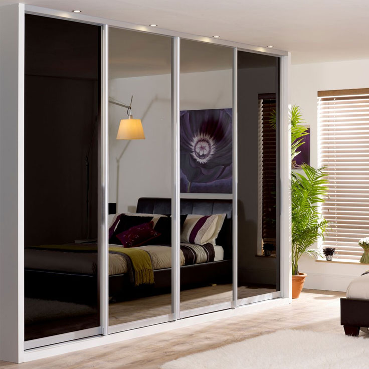 Monaco Single panel Doors- Silver frame-Black and mirror