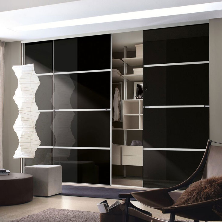 Minimalist Sliding Wardrobe Doors-Black glass-4 panel