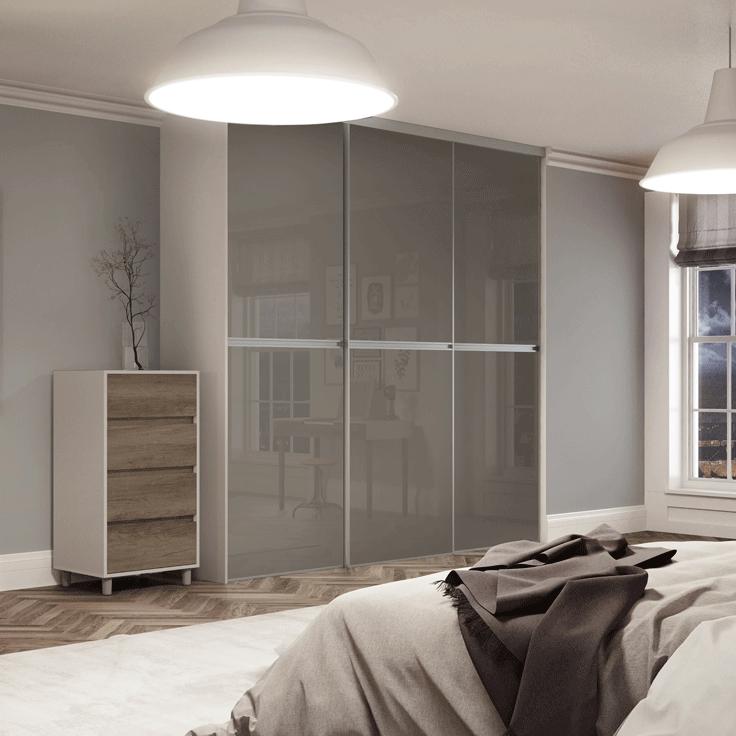 Minimalist Sliding Wardrobe Doors-Silver frame-Storm grey glass