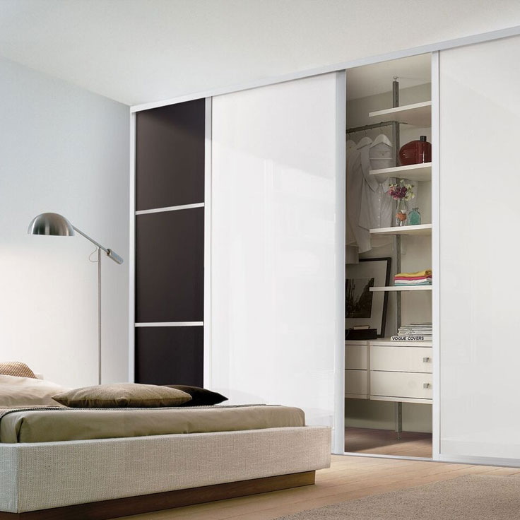 Eclipse Mixed Sliding Panel Doors - Black Glass & Pure White.