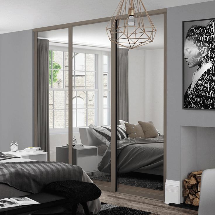 Shaker Style Single Panel Doors - Stone Grey Frame & Mirror Panel