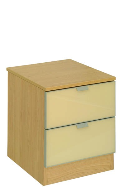 2 Drawer Cream fronts & Oak top