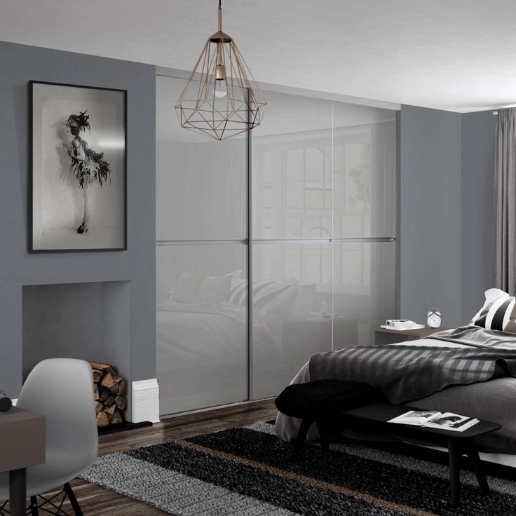 Minimalist Sliding Wardrobe Doors-Silver frame-Chalk grey glass