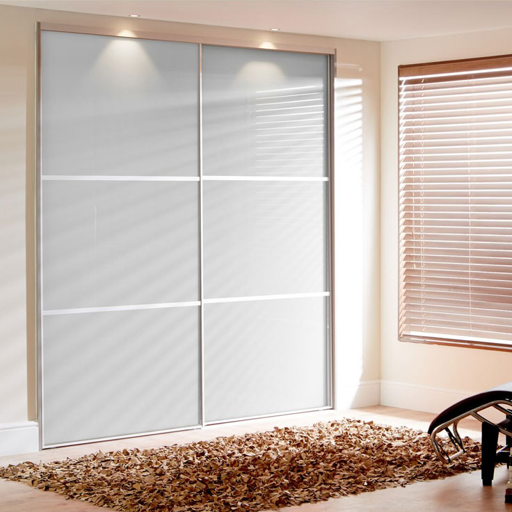 White Sliding Wardrobe Doors - Pure White Metro Panels (with 2 Oriental bars).