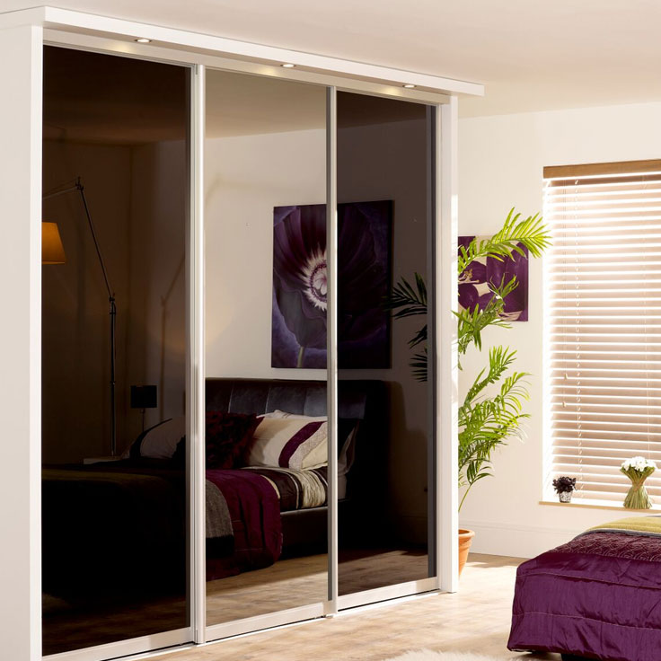 Monaco Mirror Sliding Doors - Silver Frame w/ Black Glass & Plain Mirror.