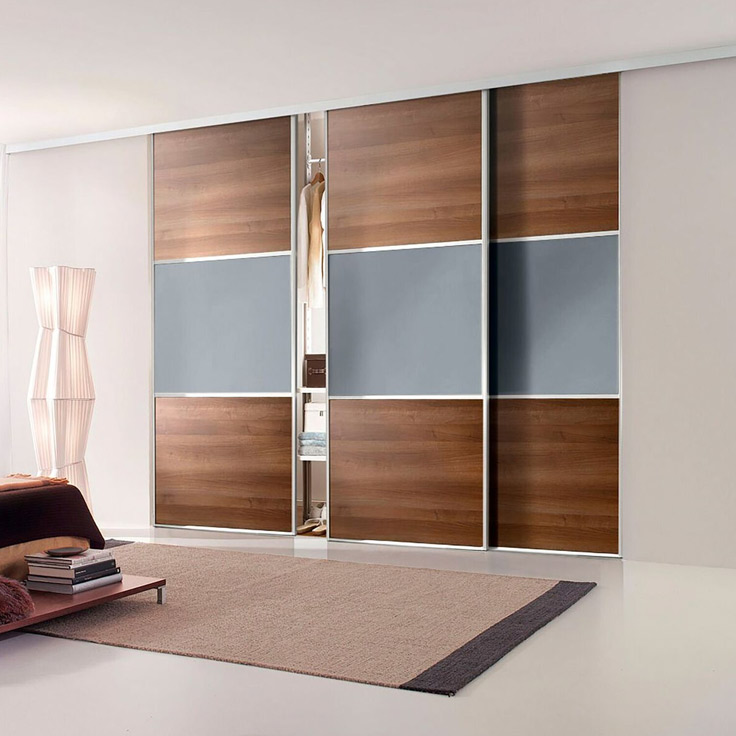 Linear Contemporary Wardrobe – Silver Frame w/ Walnut & Blue Shadow.