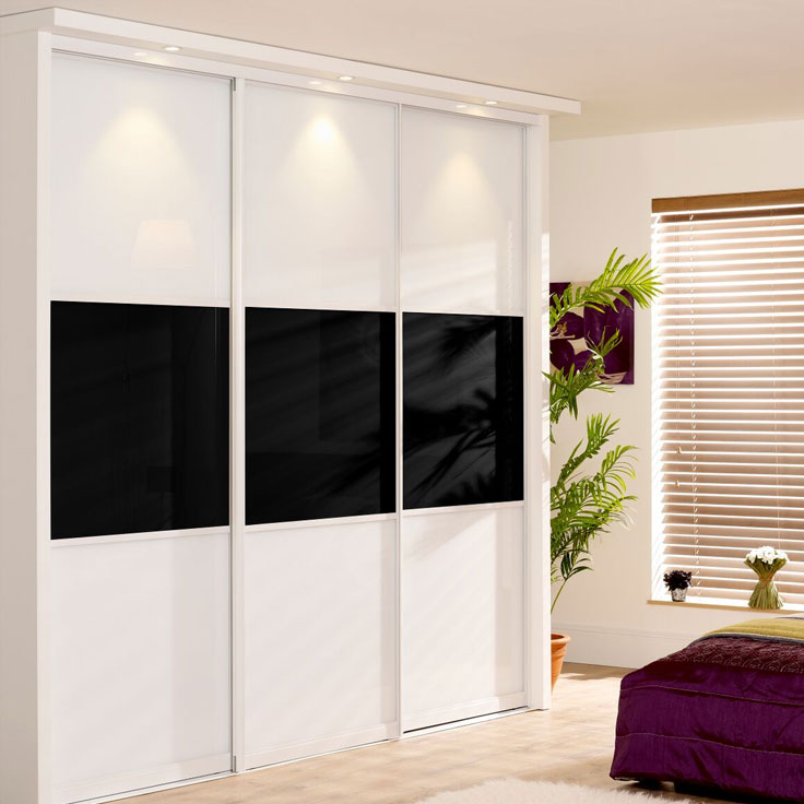 Monaco Wideline Panelled Wardrobe Doors - White frame w/ Pure White & Black.
