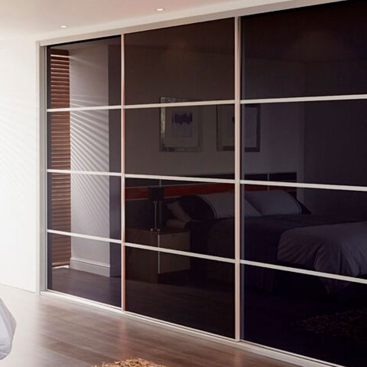 Metro Sliding Wardrobe Doors- Black glass & 3 Oriental bars