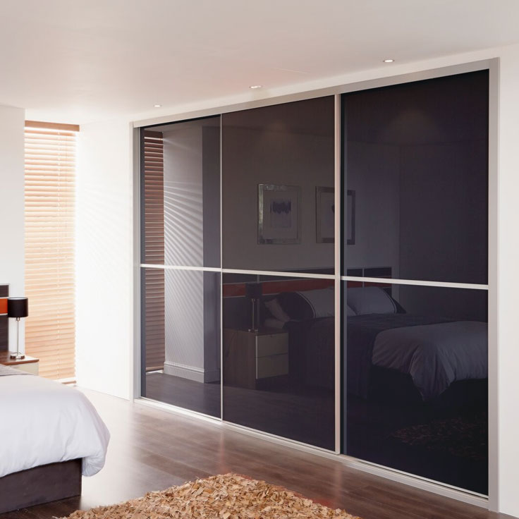 Metro Built In Sliding Wardrobe Doors - Anthracite Glass Panels.
