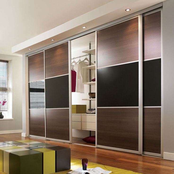 Eclipse Wideline Doors - Walnut & Black Glass Panels.