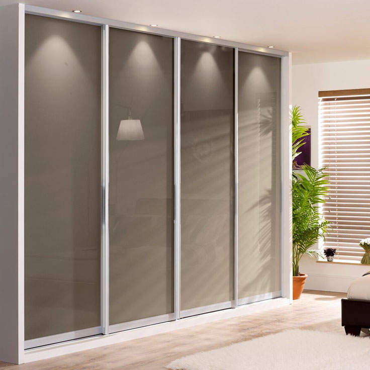 Monaco Single Panel Wardrobe - Silver Frame w/ Cappuccino Glass Doors.