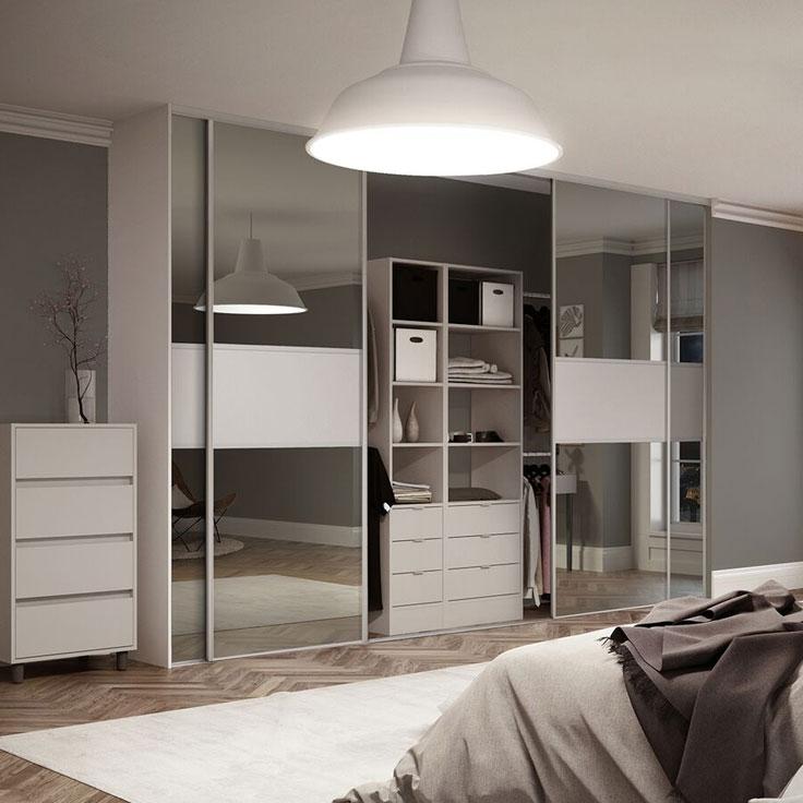Linear Fineline – Modern Cashmere Frame w/ Plain Mirror & Cashmere Board.