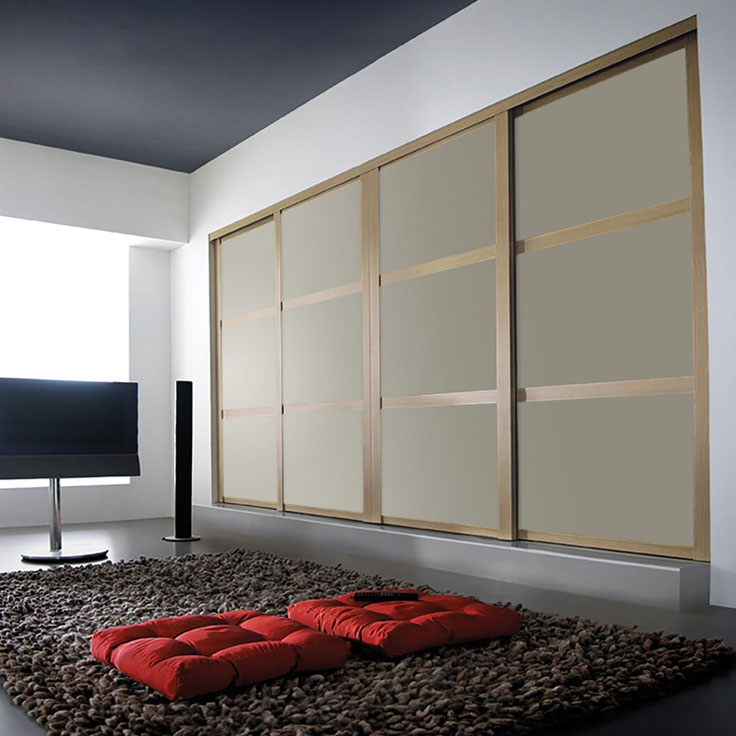 Shaker Wardrobe - Windsor Oak Frame w/ Dakar Satin Glass (2 Oriental Bars).