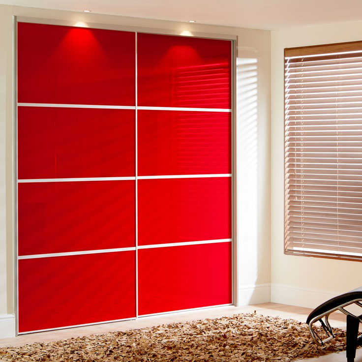 Metro Floor to Ceiling Built In Wardrobe - Poppy Red Doors (with 3 Oriental Bars).