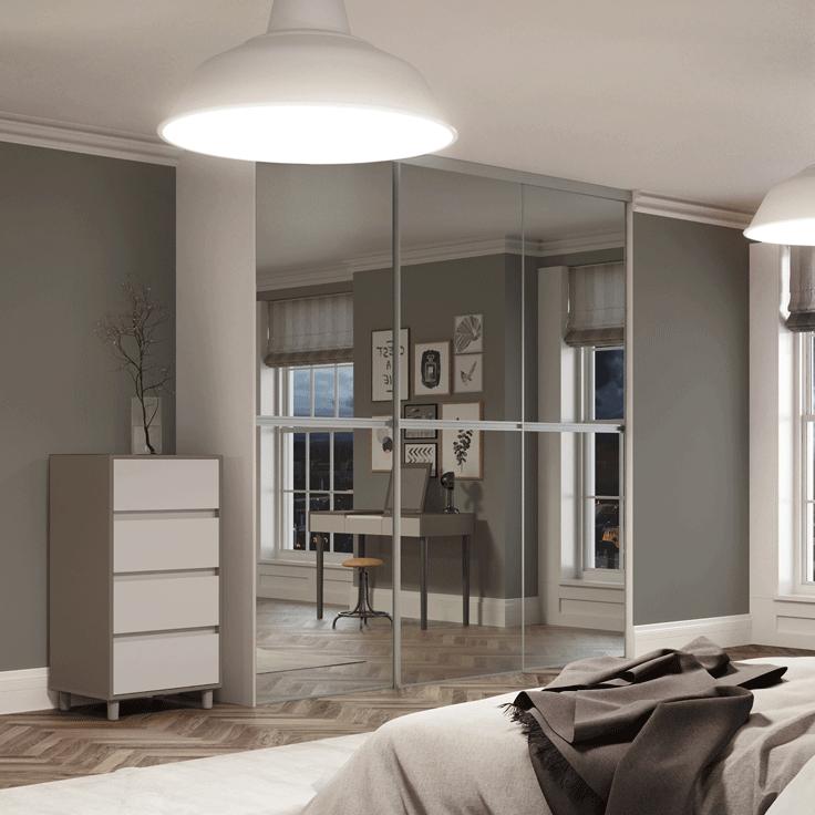 Minimalist Sliding Wardrobe Doors-Silver frame-Plain mirror