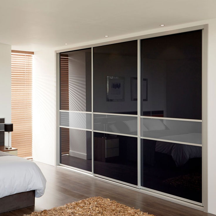 3 Door Icon Offset Fineline Sliding Wardrobe - Black & Storm Grey Glass Doors.