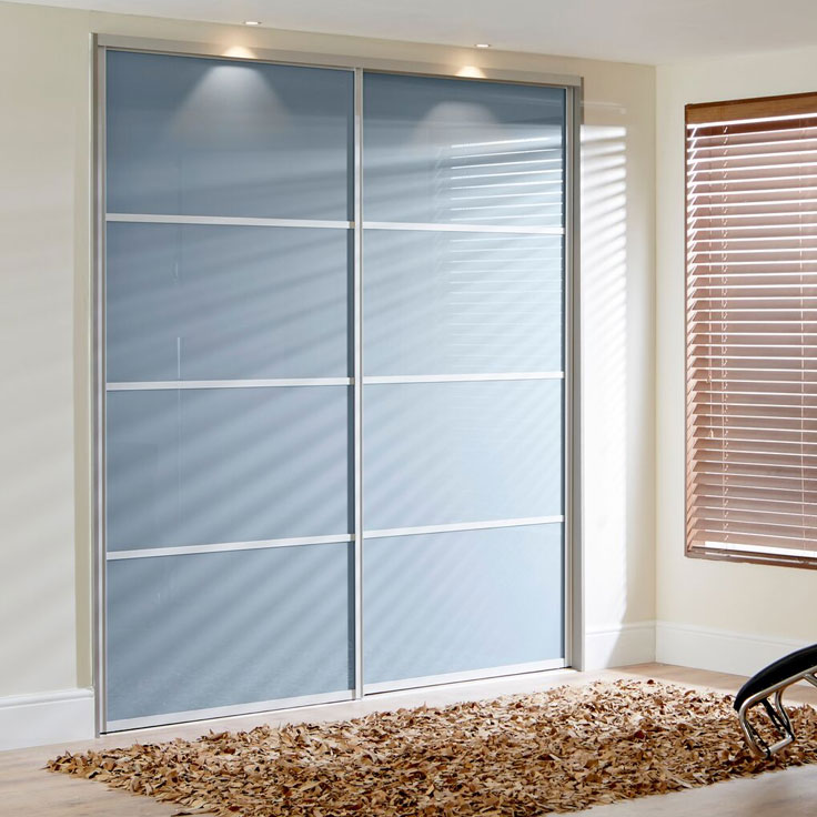 Icon Coloured Sliding Wardrobe - Blue Shadow (with 3 Oriental Bars).