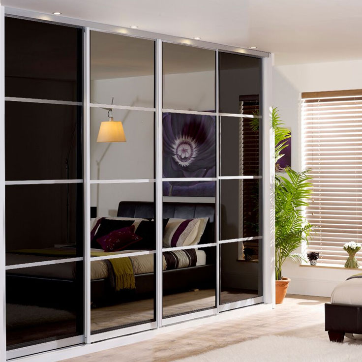Monaco Sliding Wardrobe - Black Glass & Mirror Doors (3 Oriental Bars).