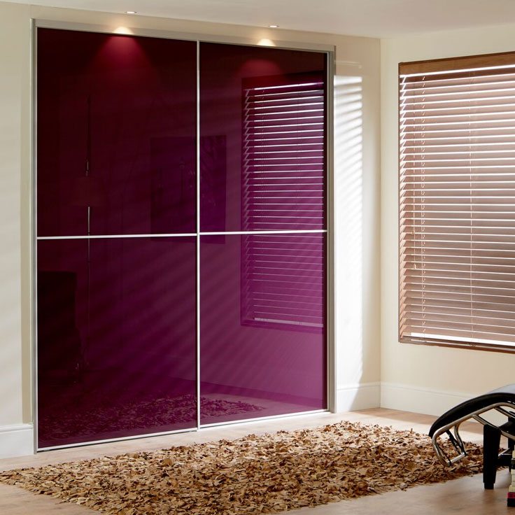 Purple Sliding Wardrobe Doors - Purple Metro Glass Panels.