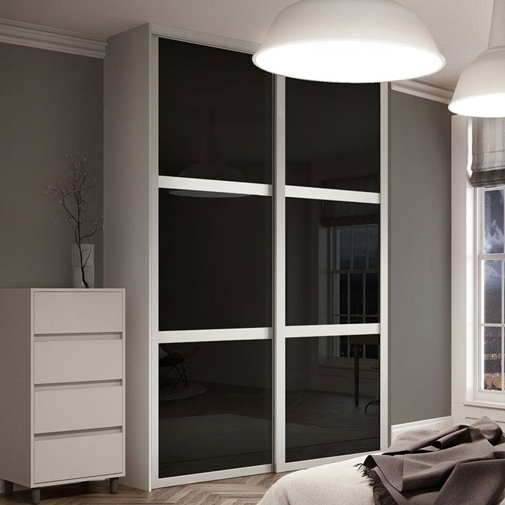 Shaker 2 Door - Cashmere Frame w/ Black Glass Panels.