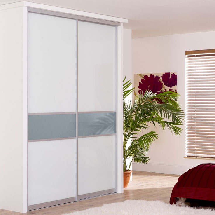 Monaco offset fineline Sliding Wardrobe Doors-Pure white and Blue shadow