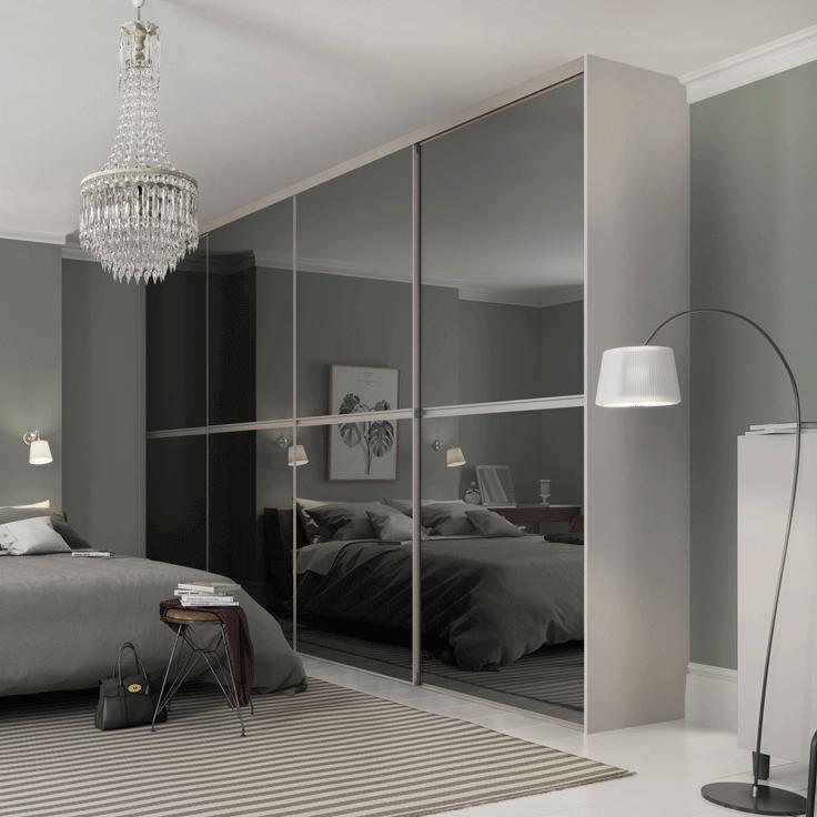 Minimalist Sliding Wardrobe Doors-Four door wardrobe-Silver frame-Grey mirror